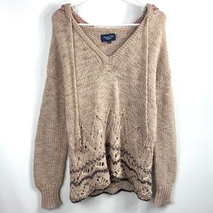 American Eagle Cream Knit Hoodie Sweater